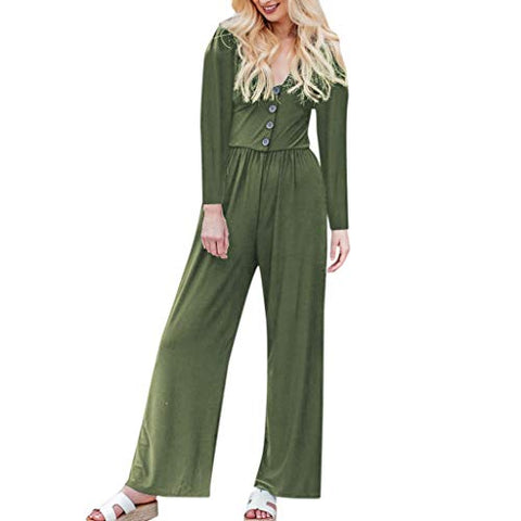 Cengligns Womenâ??S Sexy Deep V Neck Long Sleeve Playsuit Elegant Wrap Drawstring Waist Jumpsuit Rom