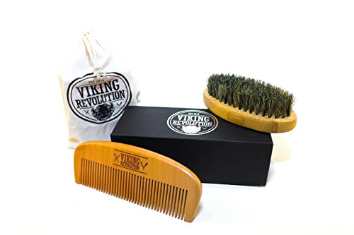Viking Revolution Beard Comb & Beard Brush Set For Men   Natural Boar Bristle Brush And Dual Action