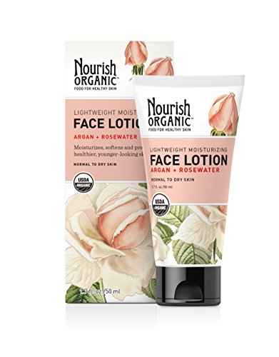 Nourish Organic Lightweight Moisturizing Face Lotion, Rosewater & Argan, 1.7 Ounce