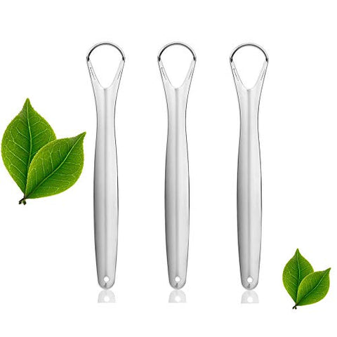 Tongue Cleaner Scraper, Surgical Stainless Steel Tongue Brush Professional Eliminate Bad Breath, Rustproof Tongue Scrapers Reusable Lifetime Dental Scraper (3 pack)