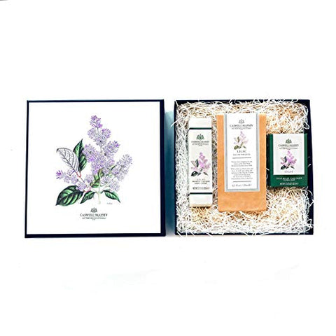 Caswell-Massey Lilac Gift Set with Plant Based Eau de Toilette Perfume, Hand Cream and Triple Milled Soap - NYBG Collection Luxury Set - Made In USA