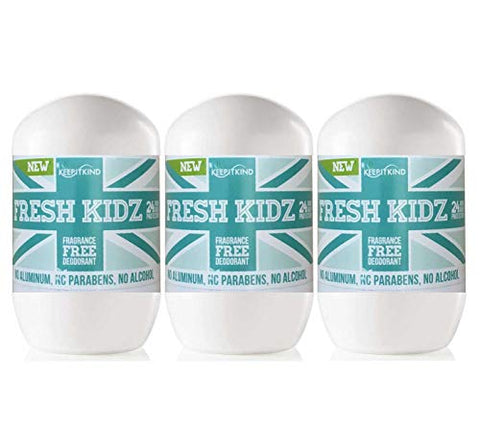 Keep It Kind Fresh Kidz Natural Roll On Deodorant 24 Hour Protection â?? Unscented Unisex, â??Greenâ