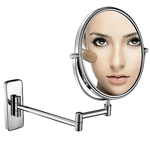 GuRun Wall Mount Makeup Mirror with 7x Magnification 8-Inch Double Sided Vanity Mirror,Chrome M1406(8in,7x)