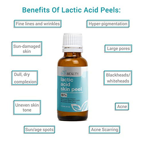 LACTIC Acid 90% Skin Chemical Peel- Alpha Hydroxy (AHA) For Acne, Skin Brightening, Wrinkles, Dry Skin, Age Spots, Uneven Skin Tone, Melasma & More (from Skin Beauty Solutions)-4oz/120ml