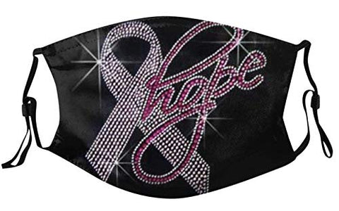 Breast Cancer Awareness Faith Love Hope Pink Ribbon Face Bnadanas, Owill Reusable Washable Comfy Breathable Face Bandanas for Adults, Breast Cancer Gifts (Hope)