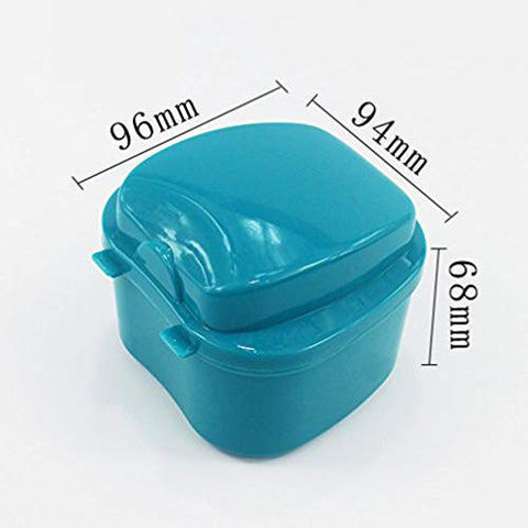 SUPVOX Denture Bath Box Case Dental Orthodontic Retainer False Teeth Storage Case Box with Strainer (Sky Blue)