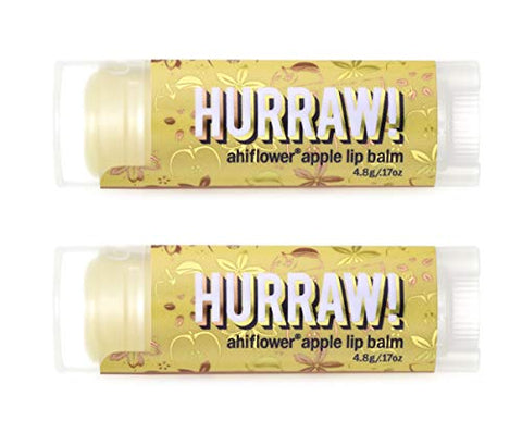 Hurraw! Ahiflower Apple Lip Balm, 2 Pack: Organic, Certified Vegan, Cruelty and Gluten Free. Non-GMO, 100% Natural Ingredients. Bee, Shea, Soy and Palm Free. Made in USA