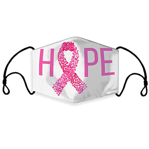 Breast Cancer Awareness Faith Hope Love Pink Ribbon Face Bandanas, Owill Reusable Washable Adjustable Pink Bandanas Breast Cancer Gifts for Breast Cancer Awareness Month (1PC C)