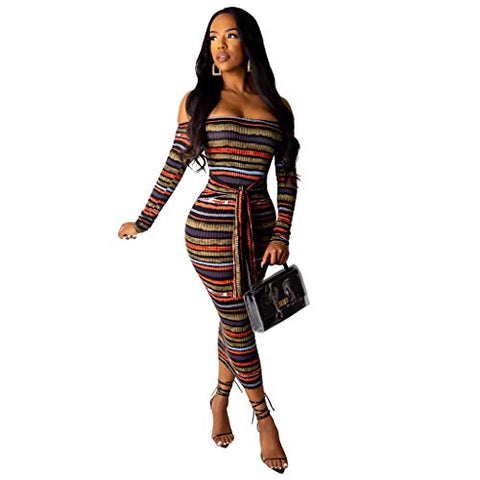 HNTDG Women Sexy Bodycon Dress Off Shoulder Striped Long Sleeve Slim Party Club Dress with Belt