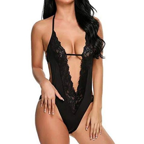 SUIKI Exotic Lingerie, Women's Sleepwear Lace Deep V Sexy One-Piece Garters Garment T-Back Nightwear Pajamas Lingeries
