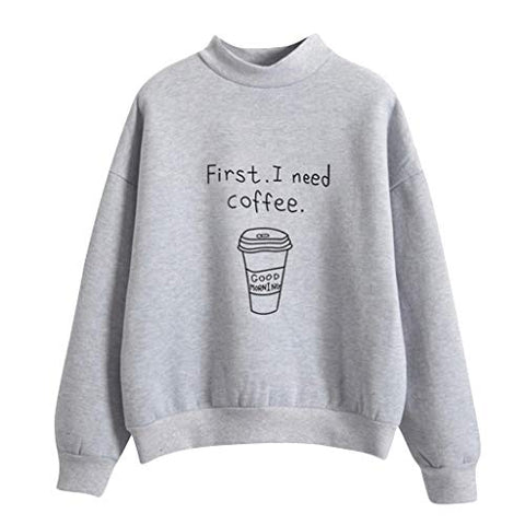 Autumn Winter Women Hoodies First I Need Coffee Letter Fleece Long Sleeve Sweatshirt Girls Pullover