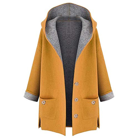 Willow S Womens Cardigan Jacket Casual Plus Size Composite Button Cardigan Large Pocket Hooded Jacket Windbreaker Coat Yellow