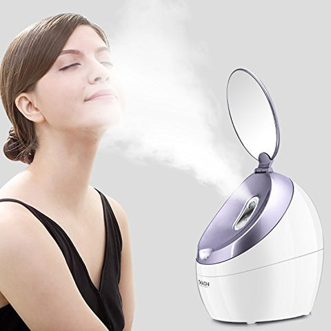 Okachi Gliya Facial Steamer Nano Hot Steam Face Spa Device Ionic Face Steaming Machine for Home Facials Personal Moisturizing Humidifier Vaporizer for Skincare Beauty Purple Color