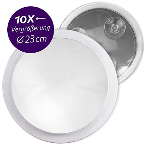 Fantasia 10x Cosmetic Magnifying Mirror, Portable travel Make-Up Mirror with acrylic frame and suction cups, Round Makeup Mirror with x10 zoom for shaving, tweezing, hairdressing, etc.