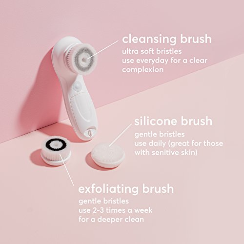 Vanity Planet Facial Cleansing Brush Ultimate Skin Spa With 3 Interchangeable Face Brushes For Clean