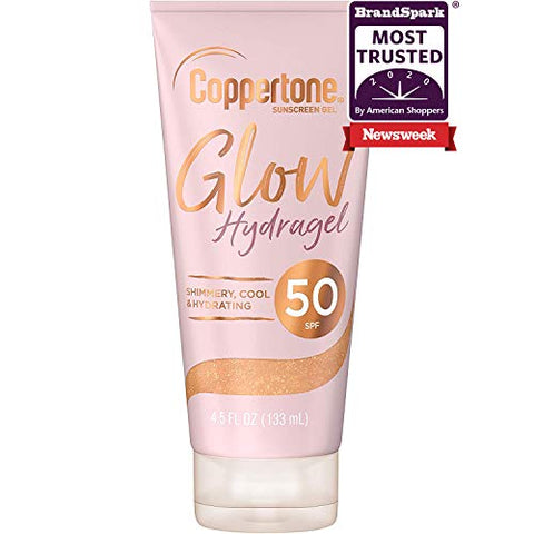 Coppertone Glow Hydragel SPF 50 Sunscreen Lotion with Shimmer, Broad Spectrum UVA/UVB Protection, Water-Resistant, Non-Greasy, Free of Parabens, PABA, Phthalates, Oxybenzone, 4.5 Fl Oz