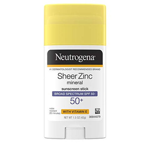 Neutrogena Sheer Zinc Oxide Mineral Sunscreen Stick with Vitamin E, Broad Spectrum SPF 50+ & UVA/UVB Protection, Water Resistant & Residue-Free Application, Paraben-Free, Dye-Free, 1.5 oz