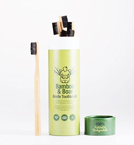 Natural Bristle Bamboo Toothbrush (No Nylon)   Totally Biodegradable Boar Bristles And Bamboo Is Zer