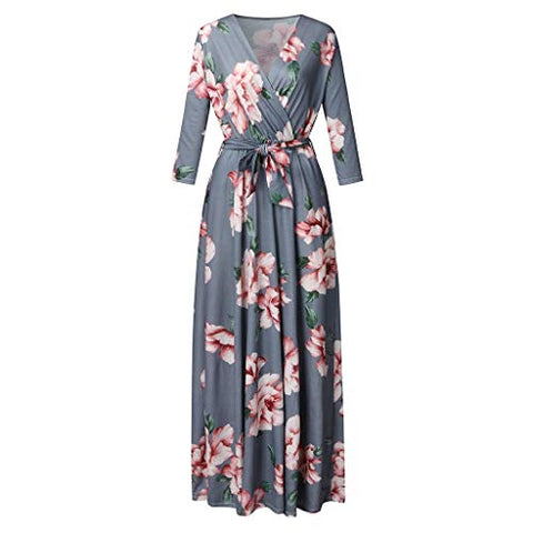 HNTDG Women's Boho Casual 3/4 Sleeve V-Neck Floral Printed Loose Dress with Belt Plus Size Evening Party Maxi Dress Gray