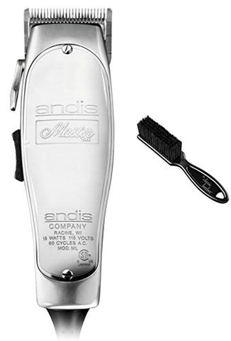 Andis Master 15-Watt Adjustable Blade Hair Clipper, Silver (01557) & Classic Barber Blade Brush