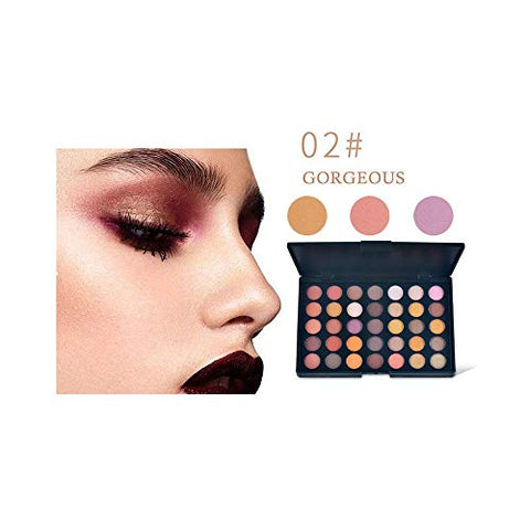 AMOUSTORE 35 Pop Colors Eyeshadow Palette, High Pigmented Waterproof Long Lasting Eyeshadow Powder, Matte Shimmer Metallic Blendable Eyeshadow Palette (02#)