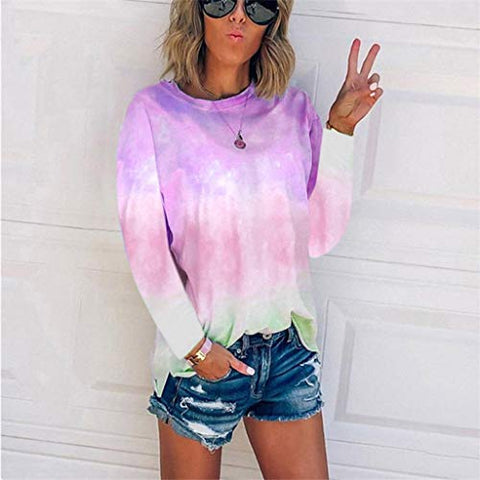 HHoo88 Women's Plus Size Tie-Dye Blouse Summer Autumn Long Sleeve Crew-Neck T-Shirt Casual Tee Tops Pullover(S-5XL) Purple