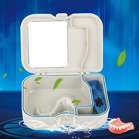 False Teeth Storage Box Denture Case Container with Mirror and Clean Brush
