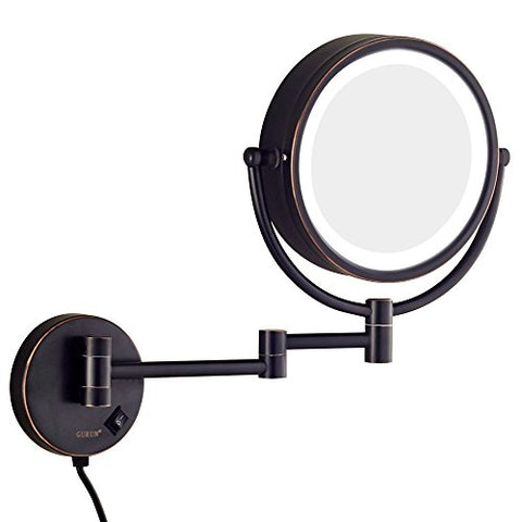GURUN LED Lighted Wall Mount Makeup Mirror with 10x Magnification,Oil-Rubbed Bronze Finish, 8.5 Inch, Brass,M1809DO(8.5in,10x)