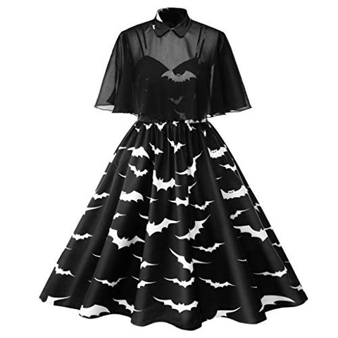HNTDG Women Vintage Plus Size Halloween 50s Housewife Evening Puffy Swing Casual Party Dress Prom Dress Black