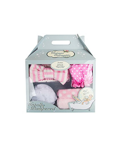 The Vintage Cosmetic Company | Totally Pampered Bath Accessories | 4 Piece Set includes Make-up Headband, Body Polisher, Shower Cap and Make-up Melts | Unwind and Relax | Pink and White | 9.6 oz