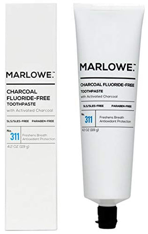 MARLOWE. No. 311 Charcoal Toothpaste 4.2 oz | Fluoride-Free | Made with Natural Ingredients | Freshens Breath, Antioxidant Protection