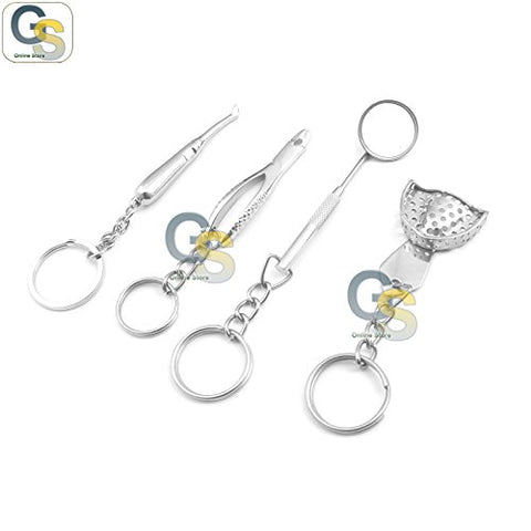 G.S 4 PIECES SILVER ORTHODONTIC PERSONALIZED DECORATIVE MINI KEY CHAIN SERIES BEST QUALITY