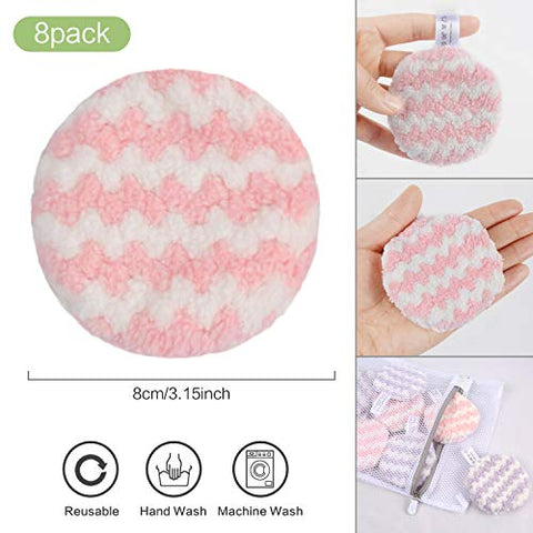 VIVOTE Makeup Remover Pads Reusable, Microfiber Makeup Removal Rounds Puff, Washable, Eco-friendly, Soft, Facial Eye Skin Wash Puffs, Laundry Bag, 3.15 Inch, 8 Pack (Pink + Purple)