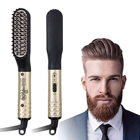 CHARMINER Beard Straightener for Men, Electric Hot Beard Straightening Comb with Dual Voltage 110-240V, 360 Rotation Cord Multifunctional Hair Styler for travel & Men's Short, Long Beard or Hair