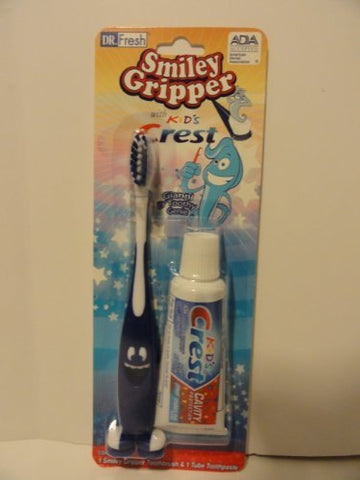 Dr. Fresh Smiley Gripper Toothbrush with .85oz Kid's Crest Travel Kit