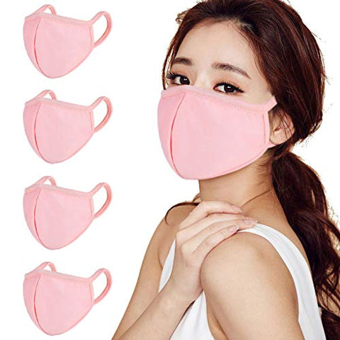 Sotck in usa,ESKMOOM Cotton elastic Mouth,reusable Face washable for Men and Women soft Pink coves 4pc