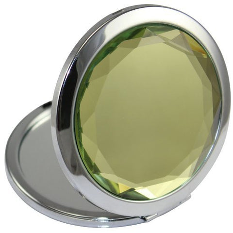 KOLIGHT Double Sides (One is Normal,Another is Magnifying) Portable Foldable Pocket Metal Makeup Compact Mirror Woman Cosmetic Mirror (Light Green)