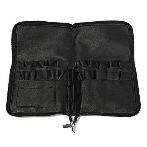 Grey990 28 Large Capacity Faux Leather Cosmetic Brushes Storage Bag -26cm x 15cm x 2cm (Approx)