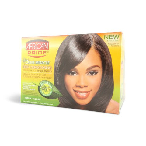 African Pride No Lye Relaxer Kit, Regular (Pack of 2)