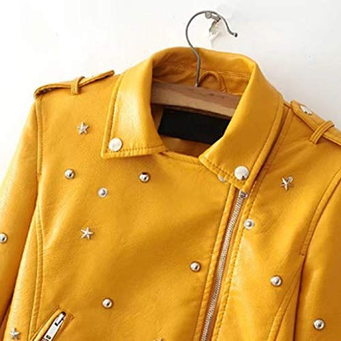 Willow S Womens Studded Leather Jacket Casual Fashion Irregular Lapel Multi-Zip Long-Sleeved Short Leather Jacket S-XXXL Yellow