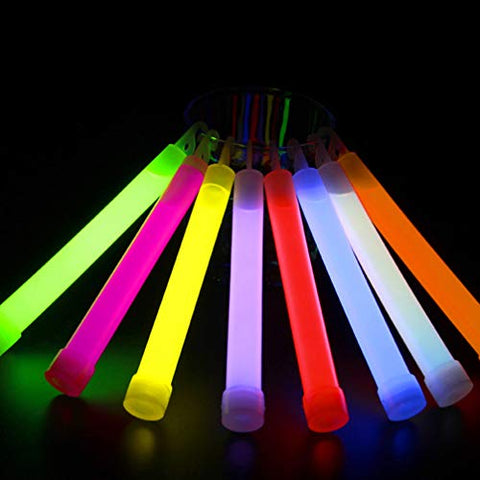 Mobestech 50 Pcs Fluorescent Sticks Light up Baton Glowing Stick Necklaces with Hook for Concert Carnival Party Wedding Events Halloween Christmas