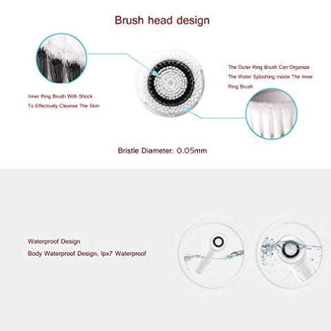 YUQIBXC Waterproof Face Brush, Face Brush, Face Exfoliator Cleanser Massager Scrubber Magnetic Inductive Charging, 2 Speeds Adjustable