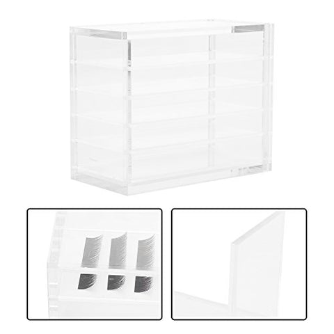 Eyelash Case Acrylic Cosmetic Storage Makeup Organizer, 5 Drawer Fake Eyelash Extensions Display Stand False Eye Lash Storage Box Glue Pallet Holder, Dustproof Clear