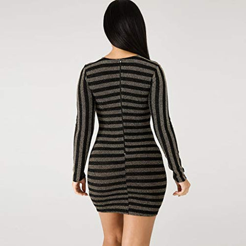 HNTDG Women Slim Bodycon Dress Long Sleeve O Neck Striped Evening Party Mini Dress Black