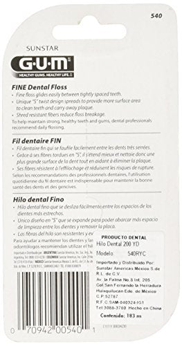 Gum Fine Unwaxed Dental Floss, Unflavored, 200 Yards