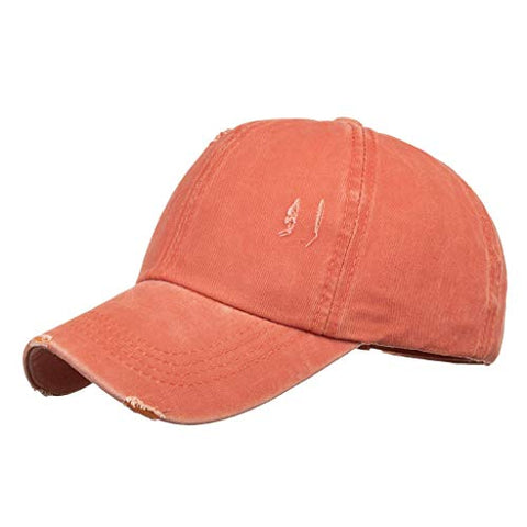 D-XinXin Adjustable Sport Baseball Cap Unisex Hip Hop Plain Hat Washed Cotton Denim Baseball Hat Orange