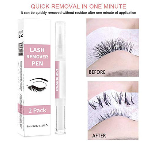 Eyelash Extension Remover Pen,SUNSENT Eyelash Adhesiver Remover,2PCS Eyelash Makeup Remover Pen,Professional Clear Lash Extensions Remover with Brush Applicator,Suitable for Salon Home Use