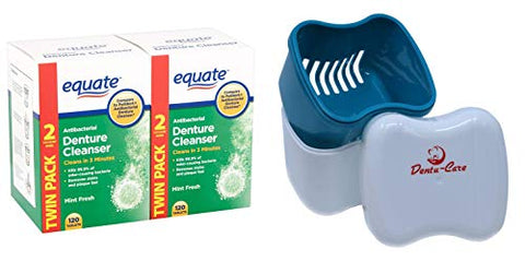 Denture Cleanser Equate Tablets Fresh Mint 240 Bundle with Dentu-Care Denture Retainer Cleaning Cup Case Bath With Basket Lid for Maintaining Good Oral Care for Full/Partial Dentures