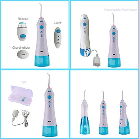 Water Flosser - Portable Cordless Oral Irrigator, Sealing Plug, 220 ml High Capacity Water Tank, 2 Jet Tips, IPX7 Waterproof, 3 Modes