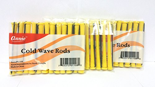 3 Packs of Annie Cold Wave Rods-Long #1108 (12 Pieces per Pack)